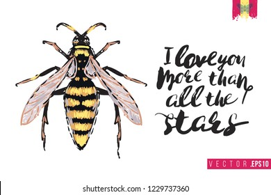 Motivation card with big wasp and quote: i love you more than all the stars. Hand drawn insect illustration in embroidery fashion style. Greeting card with beautiful bug on white background