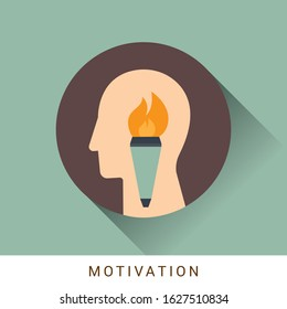 Motivation icon concept with flaming torch, fire inside in the drawing of human brain