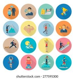 Motivation icon flat set with target achievement winner symbols isolated vector illustration