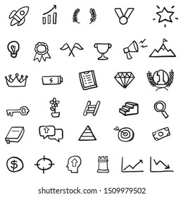 Motivation icon set hand drawn doodle vector