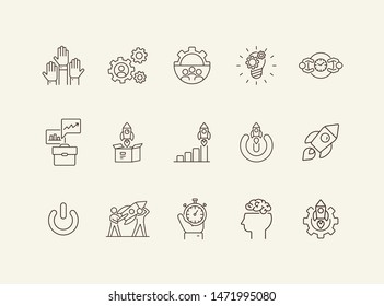 Motivation icons. Set of line icons. Goal, example, planning. Business concept. Vector illustration can be used for topics like startup, industry, career