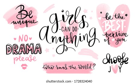 Motivation and inspiration quotes set for girls room, cards, wall decoration, blogs, posters and social media. Vector hand drawn lettering phrase. Modern brush calligraphy. Fashion saying.