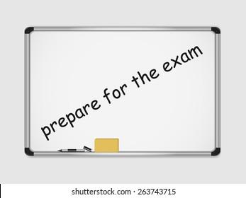 Motivation marker inscription on white board. prepare for the exam