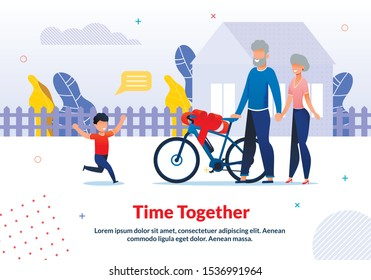 Motivation Poster Spending Time with Relatives. Happy Smiling Grandson Meeting Loving Grandparents Arrived by Bicycle. Boy Running to Hug. House Yard with Fence. Vector Flat Cartoon Illustration