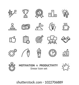 Motivation and Productivity Signs Black Thin Line Icon Set Include of Goal, Idea, Plan, Success and Teamwork. Vector illustration