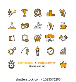 Motivation and Productivity Signs Color Thin Line Icon Set Include of Schedule, Clock, Strategy, Checklist, Target and Stopwatch. Vector illustration