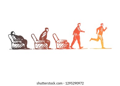 Motivation, startup, sport, fitness, run concept. Hand drawn fat lazy person stand up and run concept sketch. Isolated vector illustration.