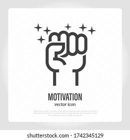 Motivation symbol. Fist. Thin line icon of success, protest, strength. Vector illustration.
