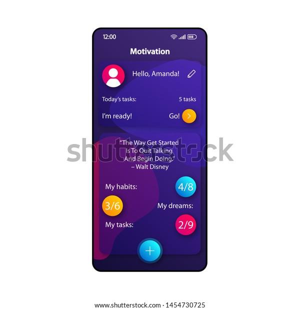 motivation tips smartphone interface vector template stock vector
