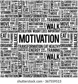 MOTIVATION word cloud background, health concept