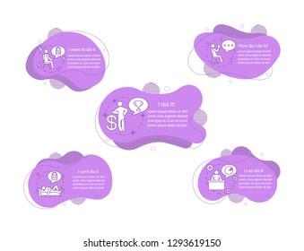 Motivational concept illustrations. Moving, inspiring, encouragement infographic template. Fluid elements with text and linear icons. Wavy bubbles steps. Presentation, banner report vector cliparts