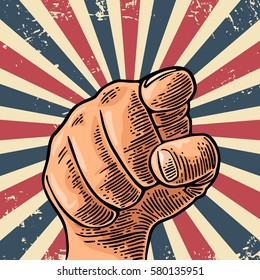 Motivational poster with hand pointing at you or the viewer listen text. Finger at viewer, from front. Vector color vintage engraved illustration.