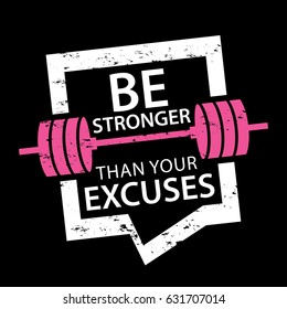 Motivational quote design about gym fitness workout