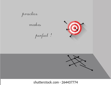 Motivational Quote Practice Makes Perfect Flat Design Target With Arrows vector illustration background
