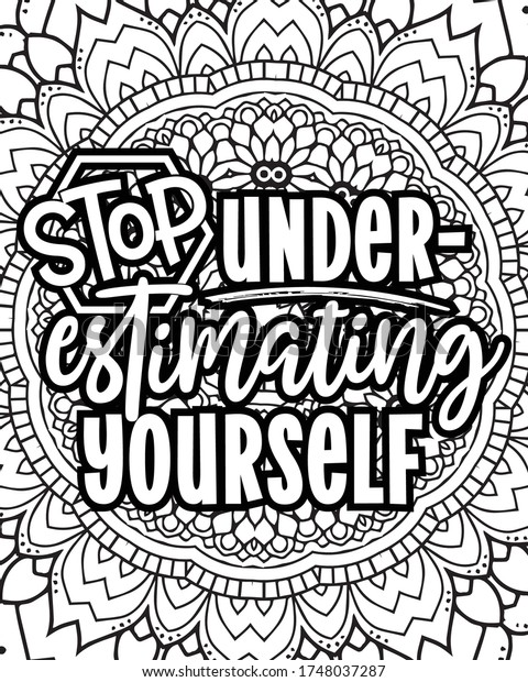 Motivational Quotes Coloring Pages Design Inspirational Stock Vector  (Royalty Free) 1748037287