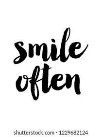 Motivational quotes design vector in brush typography lettering design vector for smile often