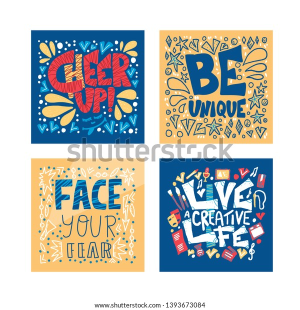 Motivational Quotes Set Cheer Be Unique Stock Vector ...