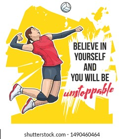 Motivational volleyball sport poster. Vector illustration of a female volleyball player jumping on abstract background