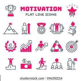 Motivations outline icons vector set.
