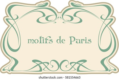 Motives Paris. Art nouveau. Vector isolate element.
