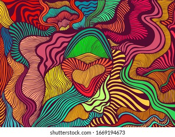 Motley abstract lines art pattern, rainbow multicolor color. Decorative psychedelic stylish card. Vector hand drawn artistic illustration.  Doodles wave background.