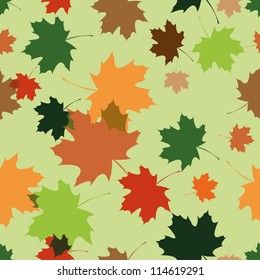 Motley maple foliage endless pattern. Vector. Perfect for autumn design