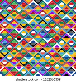 Motley seamless pattern, colorful background, diversity of colors, ethnicities and nations of Europe, vector template