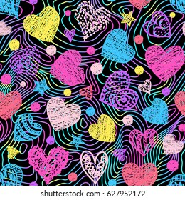 Motley seamless pattern with colorful hearts and lines.Vector illustration.