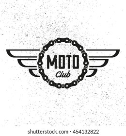 Moto club. Retro badge. Vintage logo