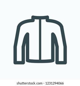 Moto jacket icon, moto wear, motorcycle clothes vector icon
