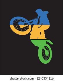 moto trial  motorcyclist rider simbol  colorful