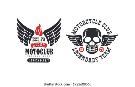 Motoclub Premium Ride Retro Logo Templates Set, Motorcycle Club Legendary Team Vintage Badges with Wings Vector Illustration