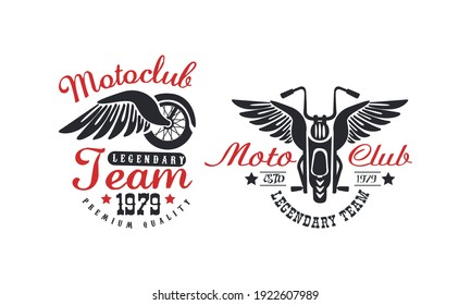 Motoclub Team Premium Quality Retro Logo Templates Set with Classic Motorcycle and Wings Vector Illustration