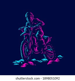 Motocross bike rider Line. Pop Art logo. Colorful design with dark background. Abstract vector illustration. Isolated black background for t-shirt, poster, clothing, merch, apparel, badge design