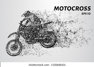 Motocross consists of circles and dots. Sports illustration in point style