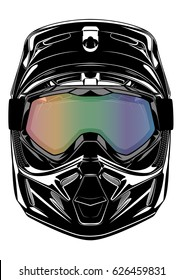 Motocross dirt motorbike helmet, vector illustration