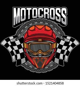 motocross helmet graphic logo, vector EPS 10