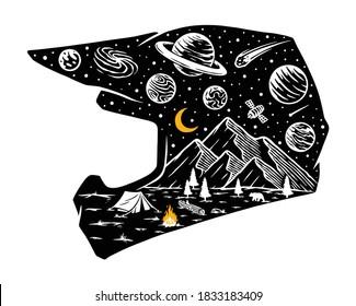 Motocross helmet and universe illustration