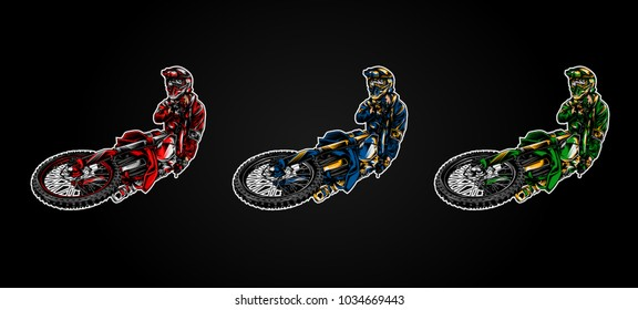 Motocross illustration on dark background