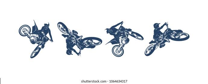 Motocross Jump Logo Vector, Motocross Freestyle silhouette