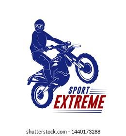 Motocross Jump Logo Vector. Motocross Freestyle Vector. Motocross vector illustration