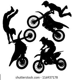 Motocross Jump Silhouette on white background