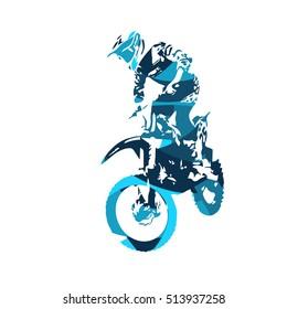 Motocross jumping freestyle rider, vector illustration
