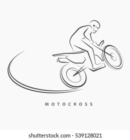 The Motocross logo in hand draw style.(EPS10 art vector)