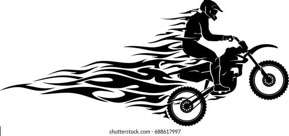 Motocross Mid Air Flames