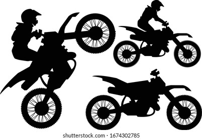 Motocross Motorcycle Dirt Bike Rider Sports Silhouettes Vector