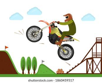 Motocross motorcycle rider jumping. Man riding bike. Extreme motorbike sport race vector illustration