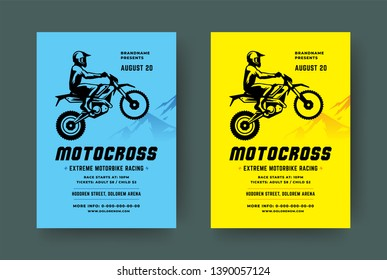 Motocross poster or flyer event modern typography design template and off road motorcycle with biker silhouette. Vector illustration.