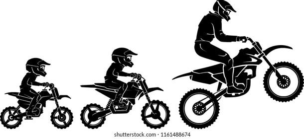Motocross Race Evolution, Side View Silhouette