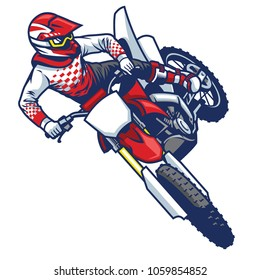 motocross rider doing jumping whip trick